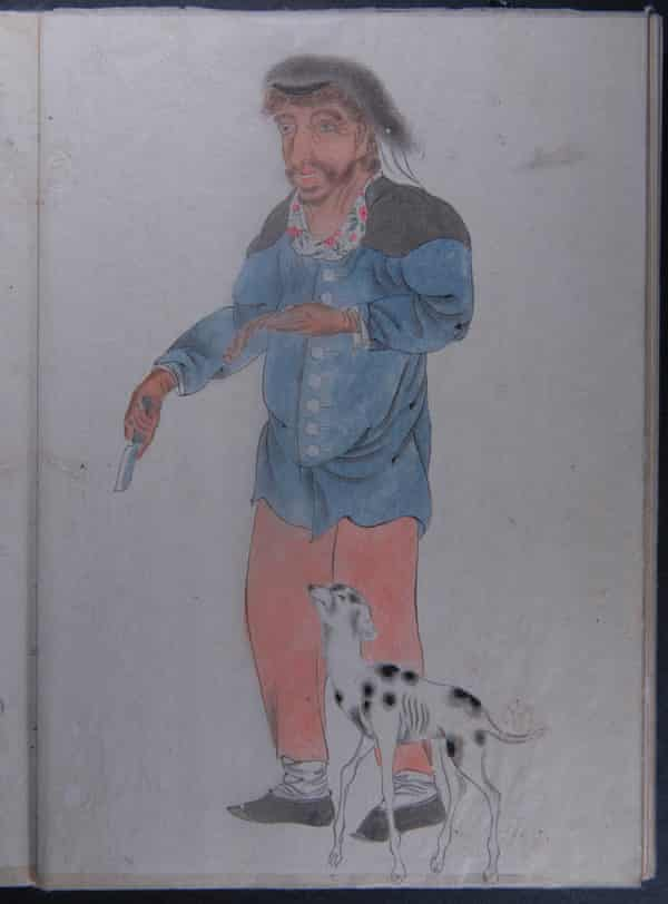A watercolour by samurai Makita Hamaguchi showing one of the sailors with a dog from the ship that 'did not look like food. It looked like a pet.'