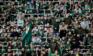 Celtic fans pictured in the safe standing area at their stadium.