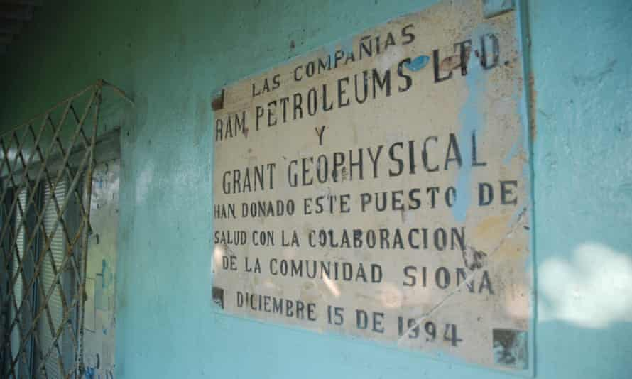 A health post sign in Colombia