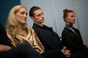 Sergei Polunin and his ballet watch the recording of the music to Narcissus and Echo