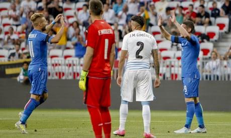 Italy see off Uruguay in friendly after bizarre José Giménez own goal