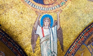 An angel shown in a ninth-century ceiling mosaic at the Basilica di Santa Prassede, Rome, chosen by Peter Dronke for the cover of vol 2 of his edition of John Scotus Eriugena's Periphyseon (On the Natures of the Universe).