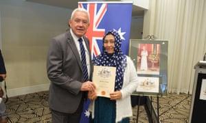Khal Bibi Hekmat at the Australian citizenship ceremony
