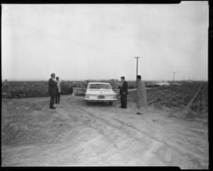 "Re-enactment of the ""onion field murder"", in which two police officers were kidnapped – one officer was shot, and died, and the other escaped – 1963"