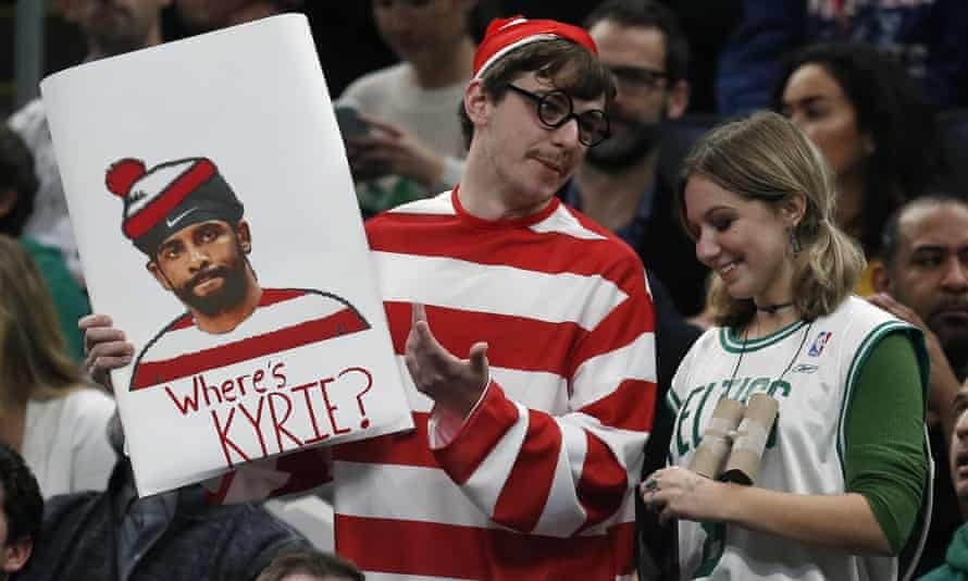 Signs mocking Kyrie Irving were in abundance in Boston on Wednesday