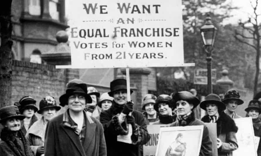 Susan Lawrence, vice-president of the Labour party, leads a group of women demanding young women's right to vote c1920.