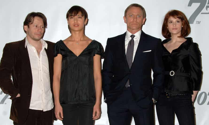 'I feel so much more grown-up now': with Mathieu Amalric, Olga Kurylenko and Daniel Craig as they pose for the 22nd James Bond movie Quantum of Solace.