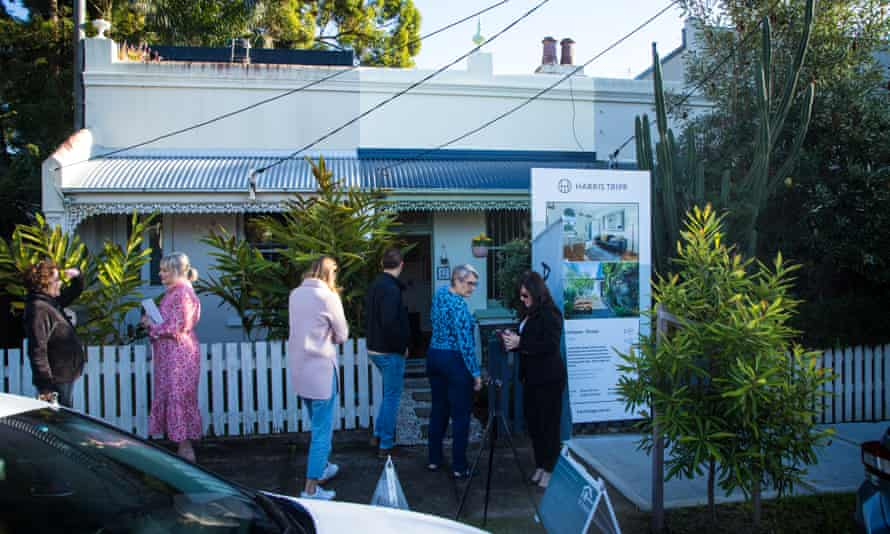 Prospective buyers line up at 12 Manchester St, Dulwich Hill. Price guide $1.2m, sold for $1.36m.