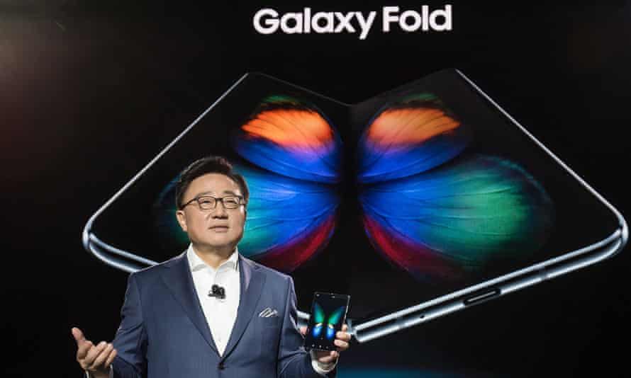 Samsung's head of mobile DJ Koh announcing the Galaxy Fold smartphone