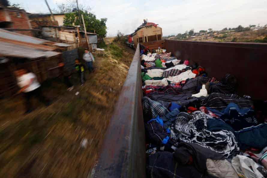 An open wagon of a freight train in Michoacan state, 17 April