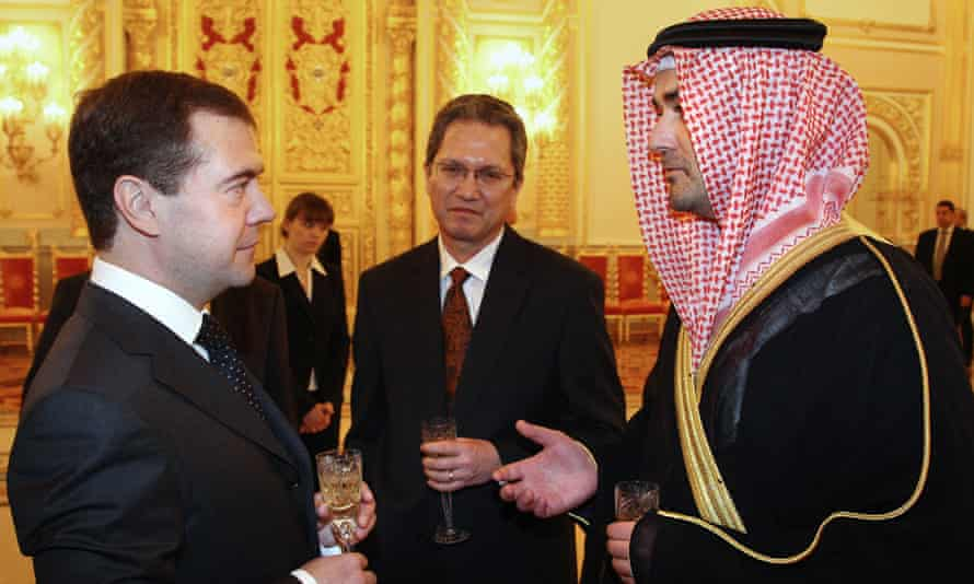 Omar Saif Ghobash, right, with Singapore ambassador to Russia Simon Tensing de Cruz (centre) and then Russian president Dmitry Medvedev in Moscow, 2009.