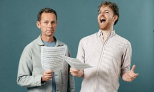 Crotchets and quavers: (from left) Martin Love is put through his paces by singing teacher Michael Vickers.