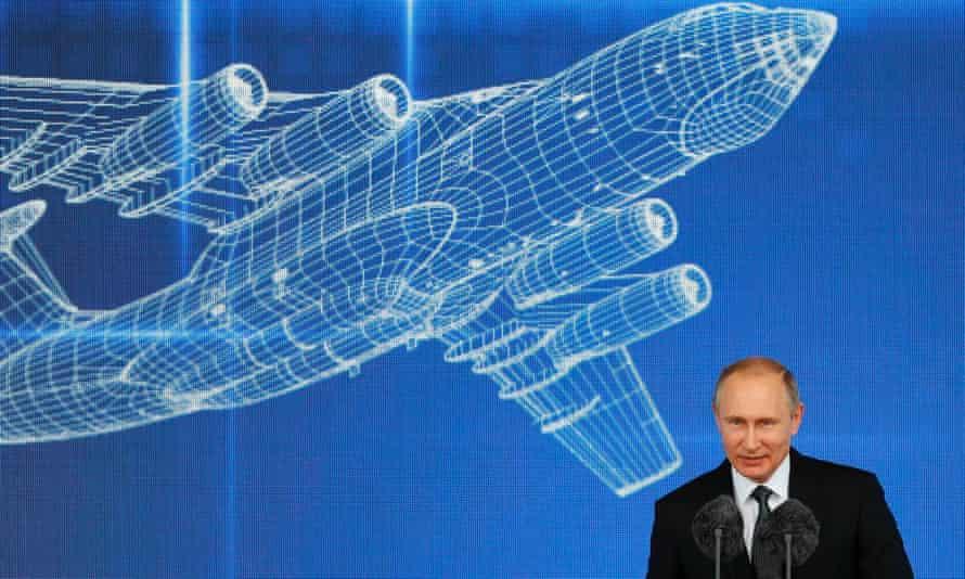 Russian President Vladimir Putin delivers his speech.