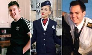 BA Crew who were killed in car crash on New year eve (L-R): Dominic Fell, Rachel Clark and Joe Finnis