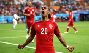 Yussuf Yurary Poulsen of Denmark celebrates after scoring his team's first goal.