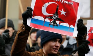 Protesters in Moscow after Turkey shot down a Russian plane last November.