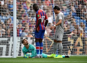 Crystal Palace's Christian Benteke reacts after his header is saved by Hertha Berlin's Rune Jarstein.