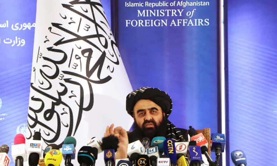 Taliban acting foreign minister Amir Khan Muttaqi speaks at a press conference in Kabul