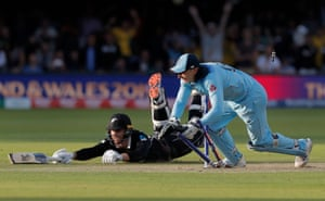 England wicketkeeper Jos Buttler runs out New Zealand batsman Martin Guptill off the last ball of the superover to give England victory during the England v New Zealand ICC Cricket World Cup Final 2019 at Lord's Cricket Ground, London.