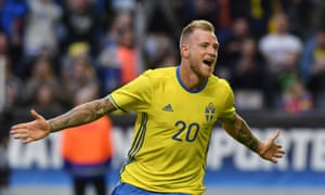 Sweden's John Guidetti celebrates after scoring against Wales in a pre-Euro 2016 warm-up game.