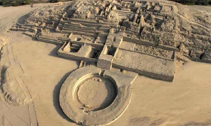 The ruins of the ancient city of Caral, Peru. The 4,500-year-old mummy was found at Aspero, 14 miles away on the coast.