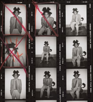 Detail from the contact sheet of a Warhol shoot with Jean-Michel Basquiat, 1982.