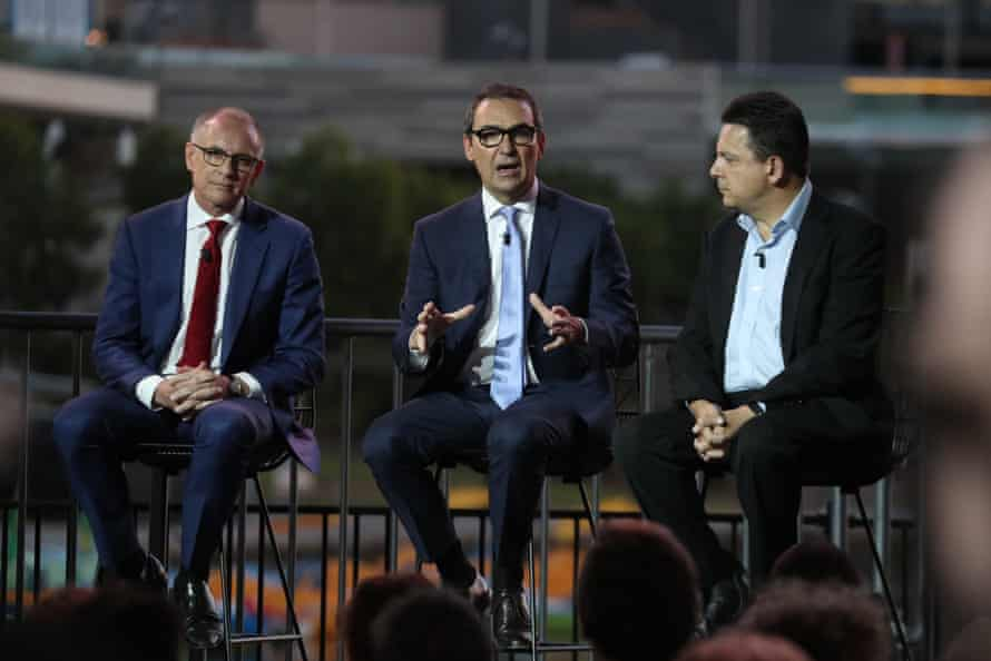 Jay Weatherill, Steve Marshall and Nick Xenophon at the South Australian leaders debate on Monday.
