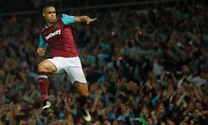 West Ham's Winston Reid celebrates after scoring the third goal.