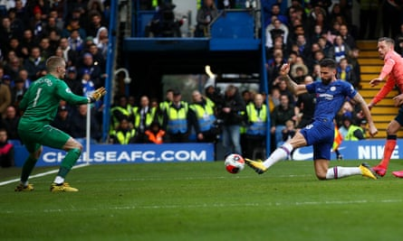 Olivier Giroud scores the final goal in Chelsea's 4-0 win over Everton at Stamford Bridge in March.
