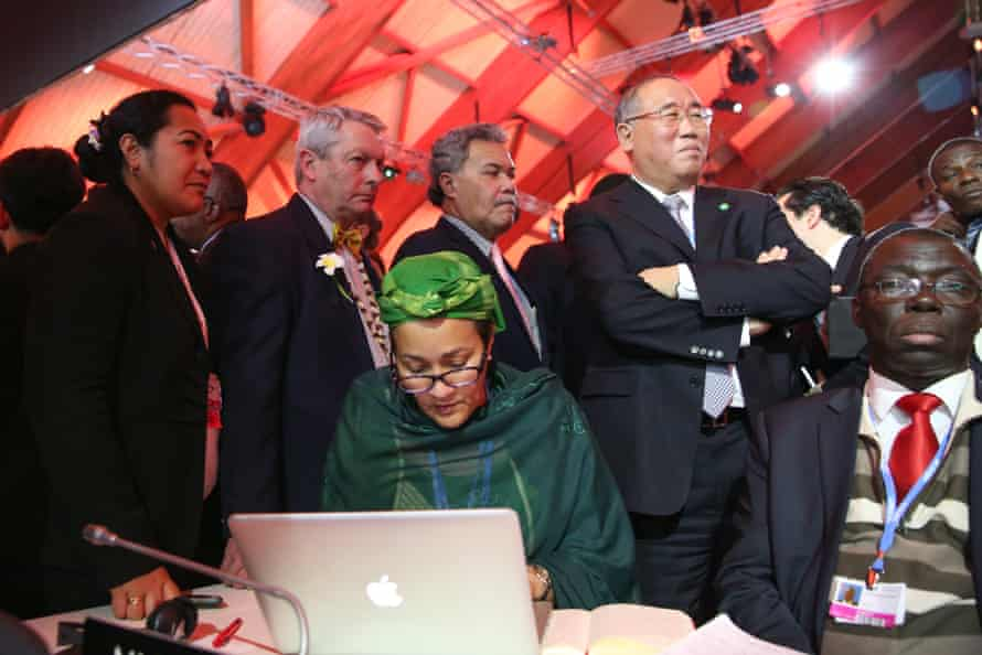 Ministers during the final negotiations at COP21 in Le Bourget, Paris.