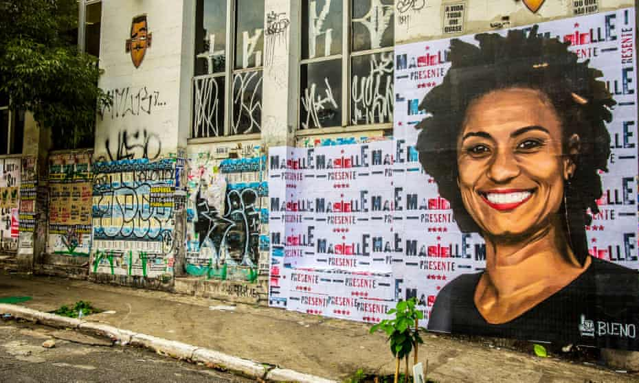 Tribute to murdered councillor Marielle Franco, Rio de Janeiro, Brazil - 03 Apr 2018Mandatory Credit: Photo by Cris Faga/REX/Shutterstock (9489793a) A wheat-paste piece of street art by artist Luis Bueno shows the councilwoman from Rio de Janeiro Marielle Franco. Tribute to murdered councillor Marielle Franco, Rio de Janeiro, Brazil - 03 Apr 2018 On March 14th, the councilwoman from Rio de Janeiro Marielle Franco and her driver Anderson Gomes, were shot dead in the heart of Rio. The crime is still unsolved, but the investigations point to the participation of cops. Marielle was a critic of police violence, which affects mainly the poor population of Rio de Janeiro. She was also very critic of the military intervention that took place in Rio on the last month.