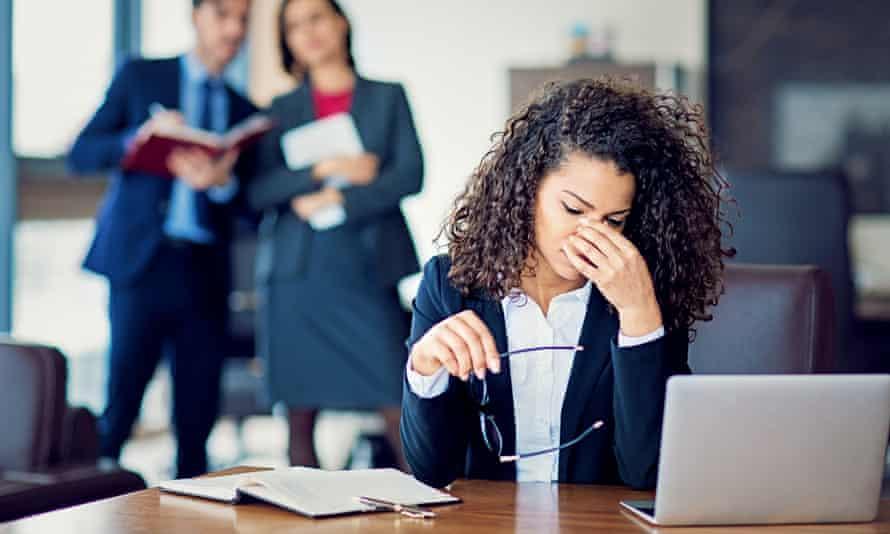 Burnout businesswoman under pressure in the office