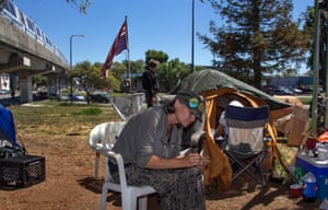 Michelle Lot at a protest camp. Her grandmother had always told her that she has Blackfoot, Cherokee, Lenape and Dutch descent, and her son's father is Iroquois.