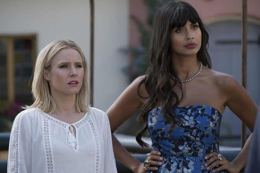 Kristen Bell and Jameela Jamil in The Good Place.