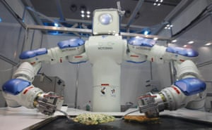 The Okonomiyaki Robot cooks a traditional Japanese pancake: it has 15 joints, can take verbal orders from customers and use standard kitchen utensils