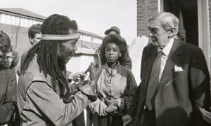 Lord Leslie Scarman meeting residents in Brixton in October 1986.