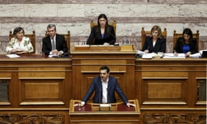 "Greek Prime Minister Alexis Tsipras (bottom) delivers a speech during a parliamentary session to brief lawmakers over the ongoing talks with the country's lenders, in Athens, Greece June 5, 2015. Greece's government rejects an ""absurd"" and ""unrealistic"" proposal from creditors and hopes it will be withdrawn, Tsipras said on Friday as he called on lenders to accept a rival proposal from Athens instead. REUTERS/Alkis Konstantinidis"