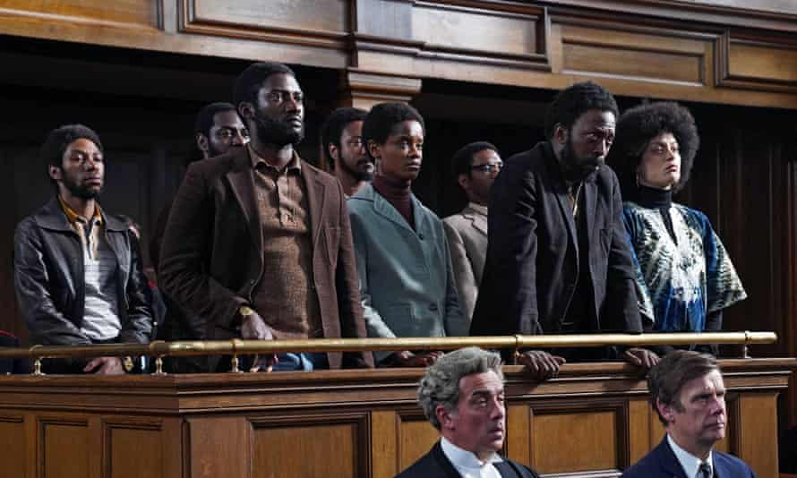 Front row from left: Malachi Kirby as Darcus Howe, Letitia Wright as Altheia Jones-LeCointe, Shaun Parkes as Frank Crichlow and Rochenda Sandall as Barbara Beese.