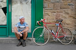 Cyclist outside Proctor's Fish Bar