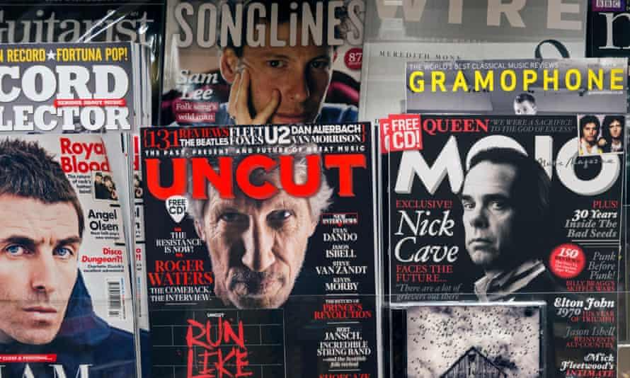 Music magazines on shelf.