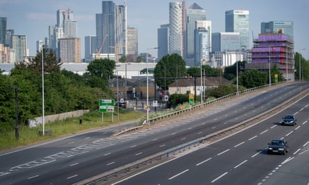 Empty traffic lanes on the A102 in Greenwich, south-east London.