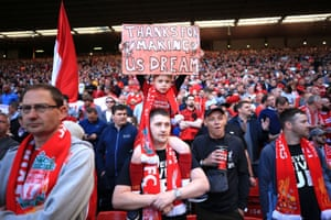 Liverpool fans show their support after they finish second in the league.