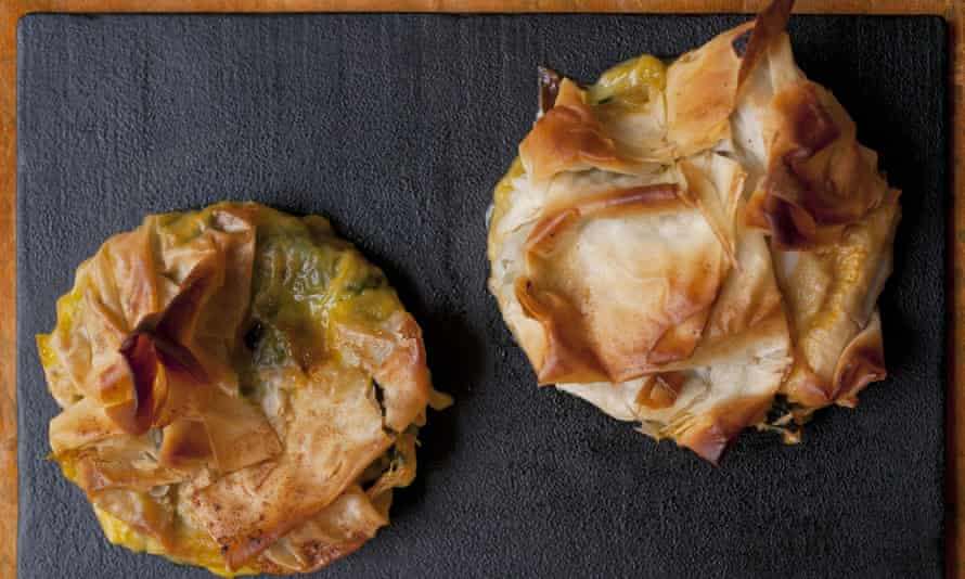 A flaky chard and Waterloo tart cracking open to reveal soft chard