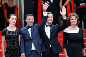 "(R-L) Jacqueline Bisset, Jeremie Renier, director Francois Ozon and Marine Vacth attend ""Amant Double (L'Amant Double')"" Red Carpet Arrivals during the 70th annual Cannes Film Festival at Palais des Festivals on May 26, 2017 in Cannes, France."