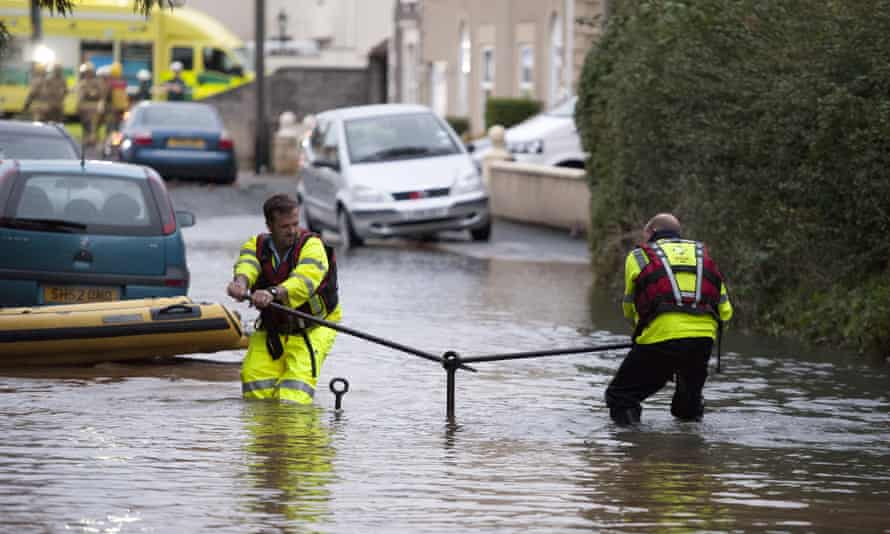 Flooding from a burst water main in Bristol