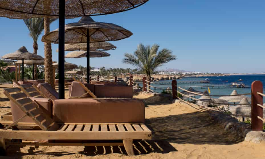Empty beach chairs at former tourist hotspot Sharm el-Sheikh.