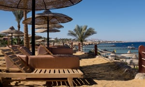 Empty beach chairs are seen at a resort in Sharm El Sheikh, Egypt.