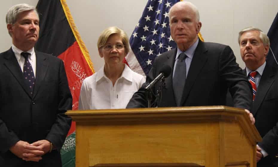 From left: Sheldon Whitehouse, Elizabeth Warren, John McCain and Lindsey Graham in Kabul.