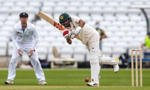 Haseeb Hameed of Nottinghamshire clips a shot off his legs on his way to a fifty against Derbyshire at Trent Bridge.