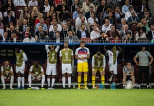 The England bench look dejected following the semi-final defeat to Croatia at the Luzhniki Stadium.